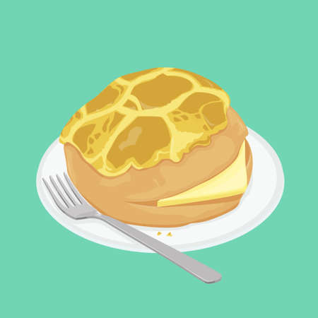 A illustration of Hong Kong style food pineapple bun with butter