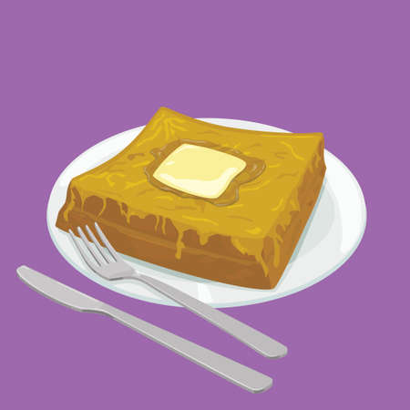french toast: A illustration of Hong Kong style food French Toast with butter