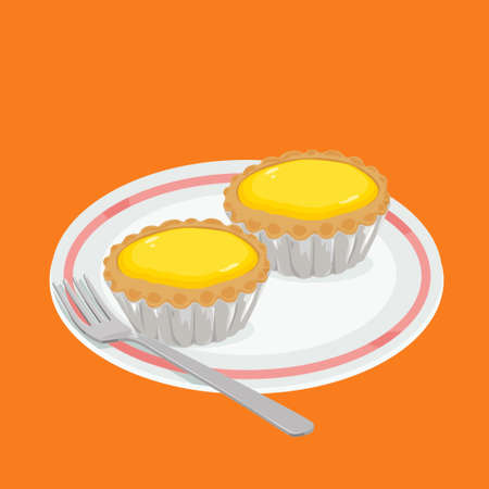 cantonese: A illustration of hong kong style food egg tarts Stock Photo