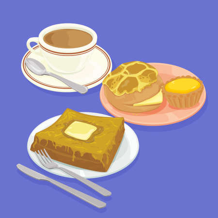 french toast: A illustration of Hong Kong style food set.Teatime ( Pineapple bun, egg tart, french toast, hot milk tea )
