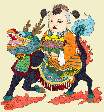 Illustration of traditional Chinese Pattern and Drawing Qi Lin Brings the Talented Son W Stock Photo