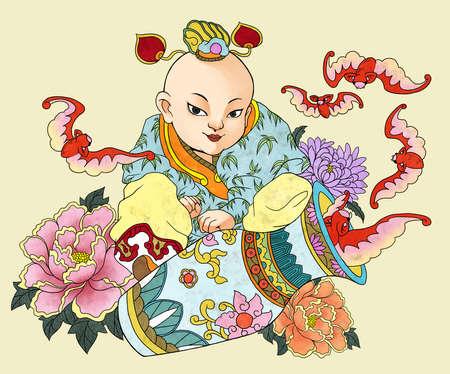 llustration du modèle traditionnel chinois et dessin W10 Banque d'images