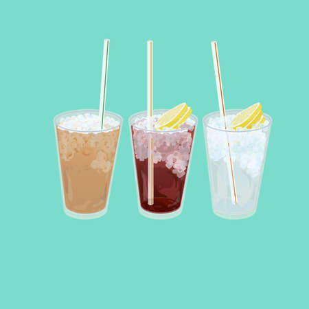 A illustration of Hong Kong style food set.Teatime (Cold milk tea, Cold Lemon tea, Cold Lemon Water) Stock Photo