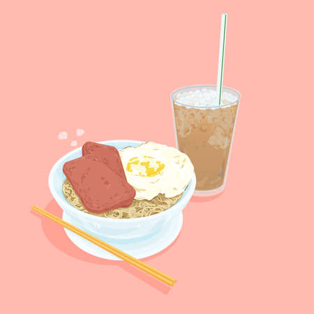 A illustration of Hong Kong style food set.Teatime (Cold milk tea, egg with luncheon meat noodles) Stock Photo