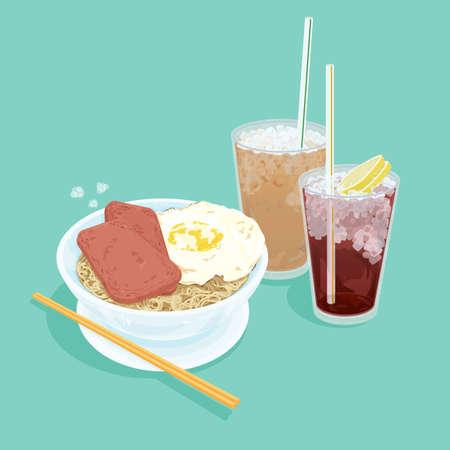 Een illustratie van Hong Kong-stijl voedsel set. Thee (koude melk thee, koude citroen thee, ei met lunch vlees noodles)