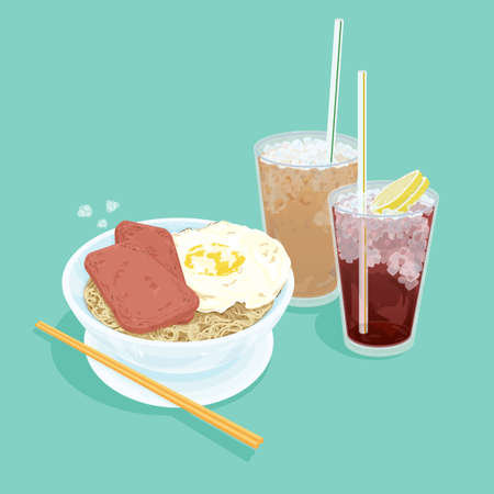A illustration of Hong Kong style food set.Teatime (Cold milk tea, Cold Lemon tea, egg with luncheon meat noodles) Stock Photo