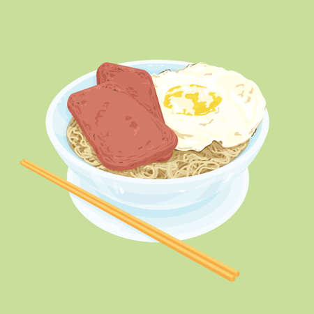 A illustration of Hong Kong style food set.Teatime (Egg with luncheon meat noodles)