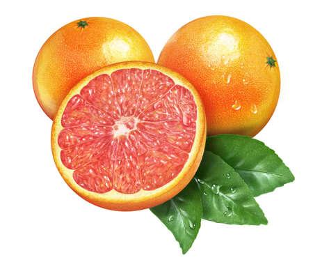 Juicy fresh of grapefruit on whtie background H08 Stock Photo