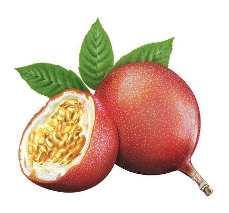 pasion: jugosas frescas de fruta de la pasión en el fondo whtie H15