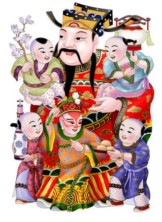 伝統的な中国のパターンと図面 S01 のイラストレーション