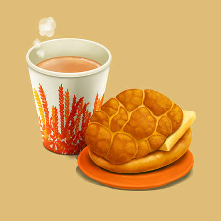 A illustration of Hong Kong style food pineapple bun with butter & hot milk tea 版權商用圖片