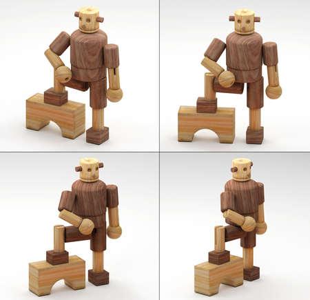 3DIllustration- 3D Rendering of wooden toys