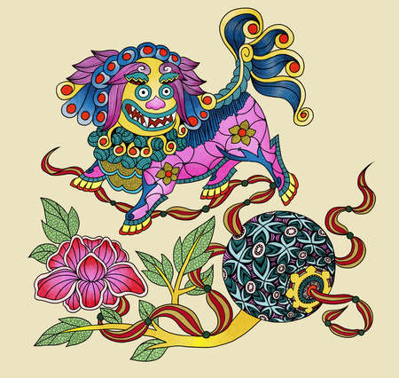 Llustration of traditional Chinese Pattern and Drawing Lion with silk balls