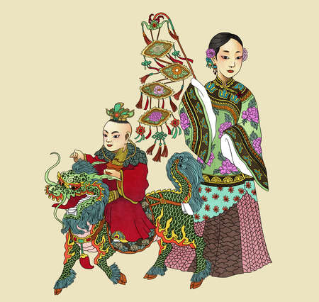 Illustration of traditional Chinese Pattern and Drawing Qi Lin Brings the Talented Son Stock Photo