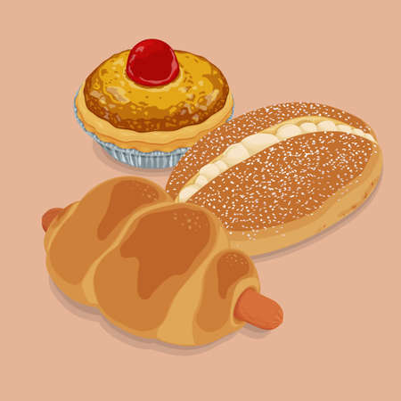 A illustration of hong kong style food classic bread