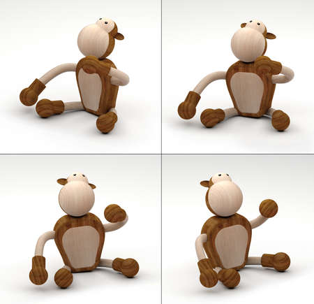3DIllustration- 3D Rendering of wooden toys Banque d'images - 127397849