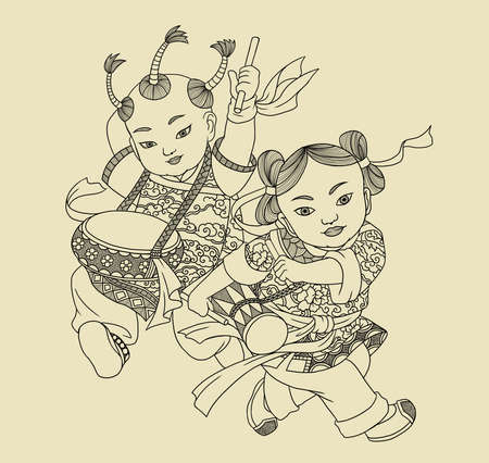 Illustration of traditional Chinese Pattern and Drawing -Fengyang Flower Drum 版權商用圖片