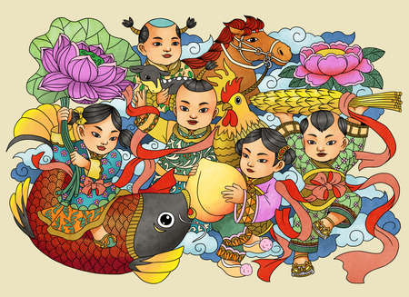 Illustration of traditional Chinese Pattern and Drawing Successive harvest 版權商用圖片