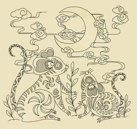 illustration of mice looking at crescent with chinese traditional elements 版權商用圖片