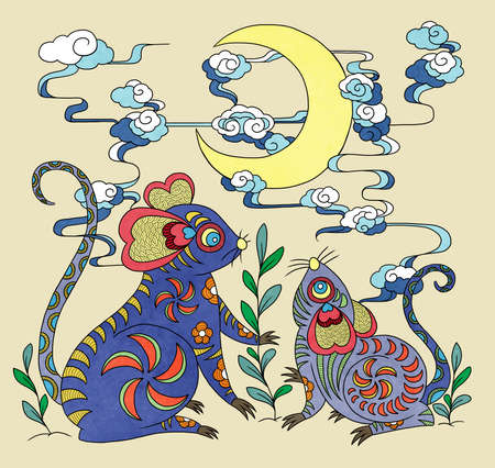 illustration of mice looking at crescent using chinese traditional elements