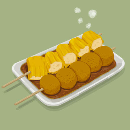 A illustration of hong kong style food -FishBall & Shu Mai 스톡 콘텐츠
