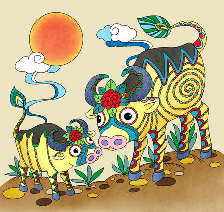 illustration of ox using chinese traditional elements Stock Photo