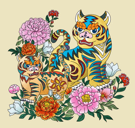 Illustration of tigers using chinese traditional elements