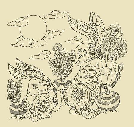 Illustration of rabbits using chinese traditional elements 版權商用圖片