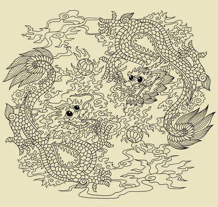Illustration of dragons using chinese traditional elements