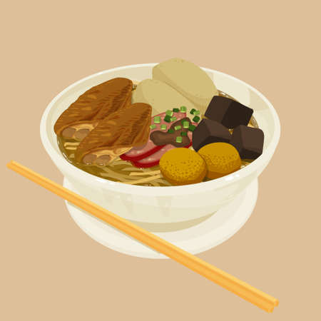 Illustration of Hong Kong style  noodles