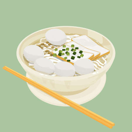 Illustration of Hong Kong style thick rice noodle with fishball and fishcake