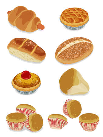 Illustration of hong kong style  classic bread and cake 版權商用圖片