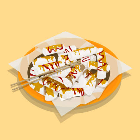 Illustration of Hong Kong style   rice roll