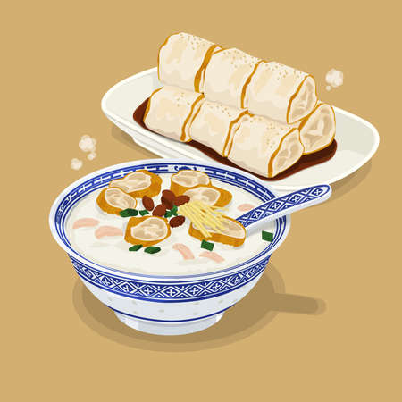 A illustration of Hong Kong style food Congee and rice roll with fried bread stick