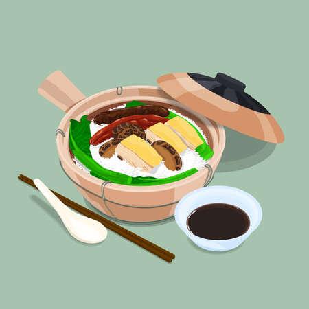 A illustration of Hong Kong style food Claypot rice 版權商用圖片