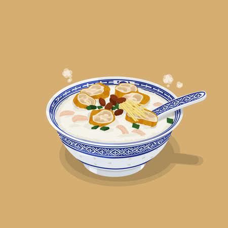 A illustration of Hong Kong style food Congee 版權商用圖片
