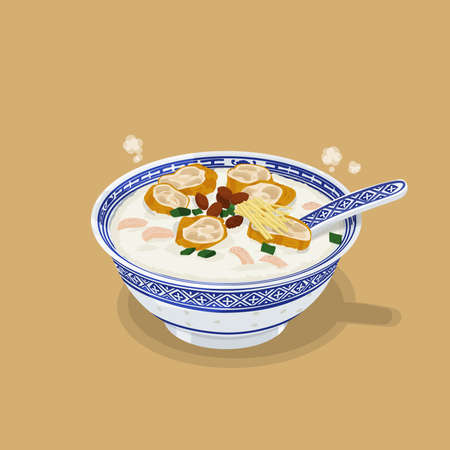 A illustration of Hong Kong style food Congee Stock Photo