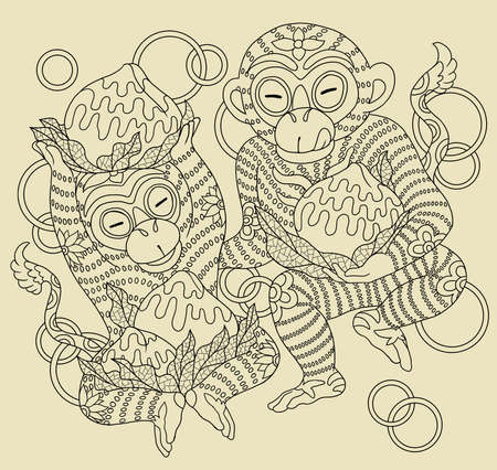 Illustration of traditional Chinese Pattern and Drawing