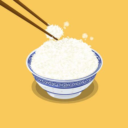 A illustration of Hong Kong style food Bowl of rice