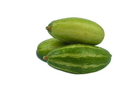 Three fresh green colored pointed gourd stacked on an empty white background