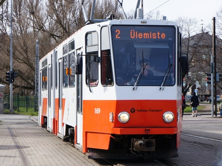 Tallinn, Estonia, 24th April 2016. One red-white colored tram of line '2' standing at station 'Linnahall'. Editorial