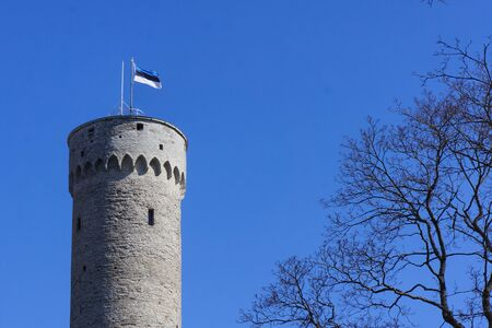 Flagpole with an Estonia flag waving on a tall historic tower Editorial