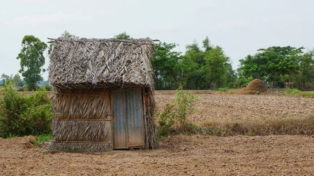 Simple shed made from bamboo and other wood material on a dry rice field in Vietnam.