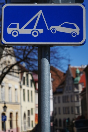 Blue Street Sign of Tow Away Zone Stock Photo