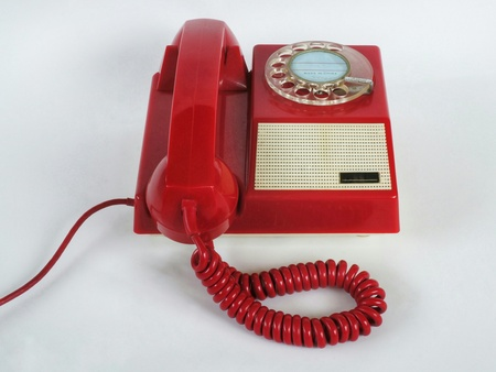 Red old phone Stock Photo