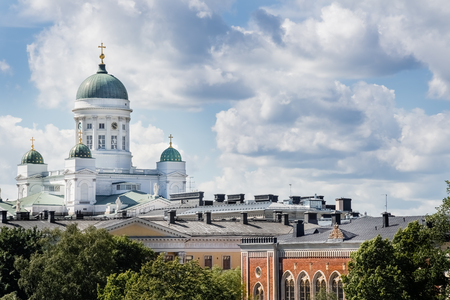 Helsinki Cathedral on Cloudy Summer Day Stock Photo