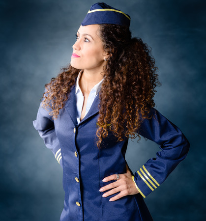 an attendant: Attractive Flight attendant determined and strong