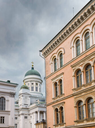 engel: Helsinki Cathedral on Cloudy Summer Day Stock Photo