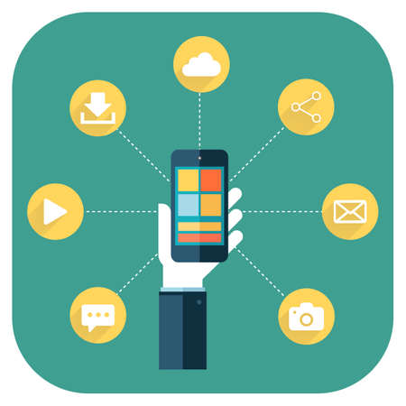 smartphone apps: Smartphone apps infographics with a hand holding a phone with linked circular icons   Illustration
