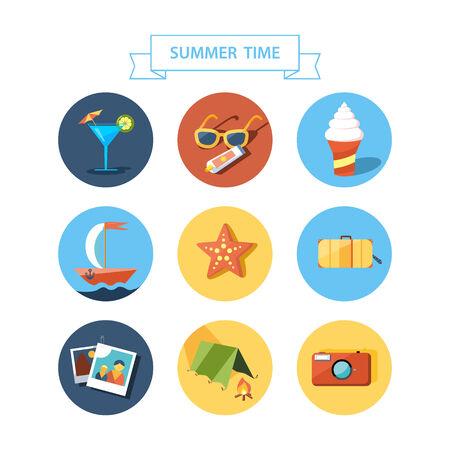 recess: Summertime icons set  Flat design   Illustration